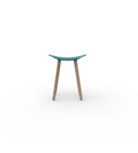 Taburete Coma Wood Enea Design 2016 alto asiento gris azul